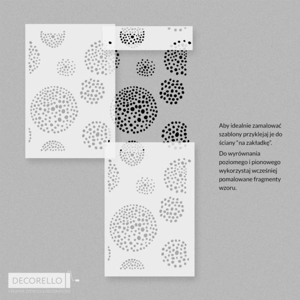 Szablon malarski Kwietne kropki - pozycjonowanie na ścianie