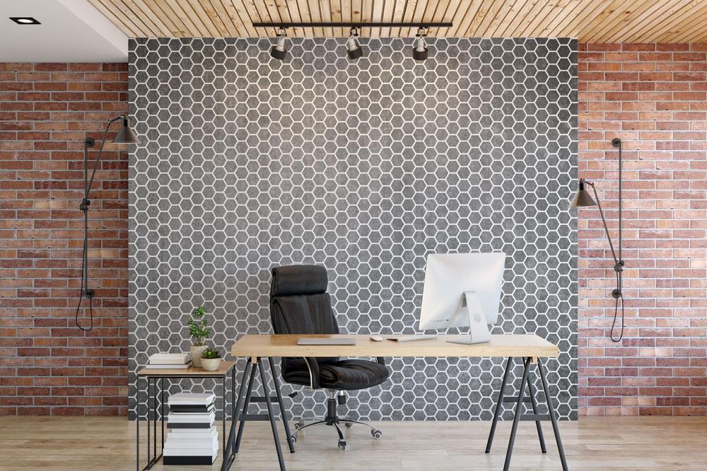 Hexagon, szablon malarski, wizualizacja biuro, biurko, krzesło