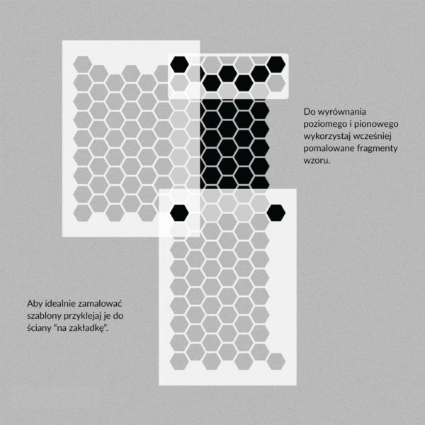 Szablon malarski Hexagon - nakładanie
