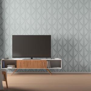 Szablon malarski Art Deco Palm 2 wizualizacja w nowoczesnym salonie, telewizor