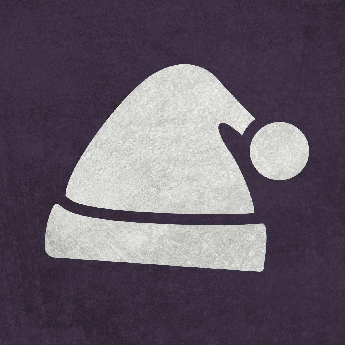 Czapka św. Mikołaja - szablon malarskie wielokrotnego użytku, wizualizacja na ciemnym tle