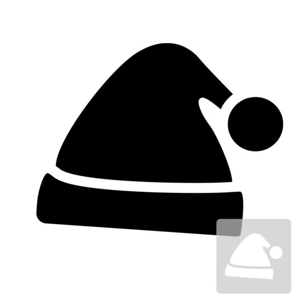 Czapka św. Mikołaja - szablon malarskie wielokrotnego użytku, czarno-biały