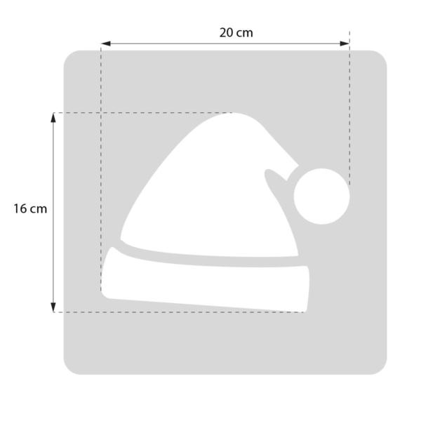 Czapka św. Mikołaja - szablon malarskie wielokrotnego użytku, rozmiary szablonu