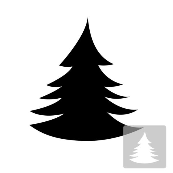 Choinka - świąteczny szablon malarskie wielokrotnego użytku, wizualizacja czarno-biała