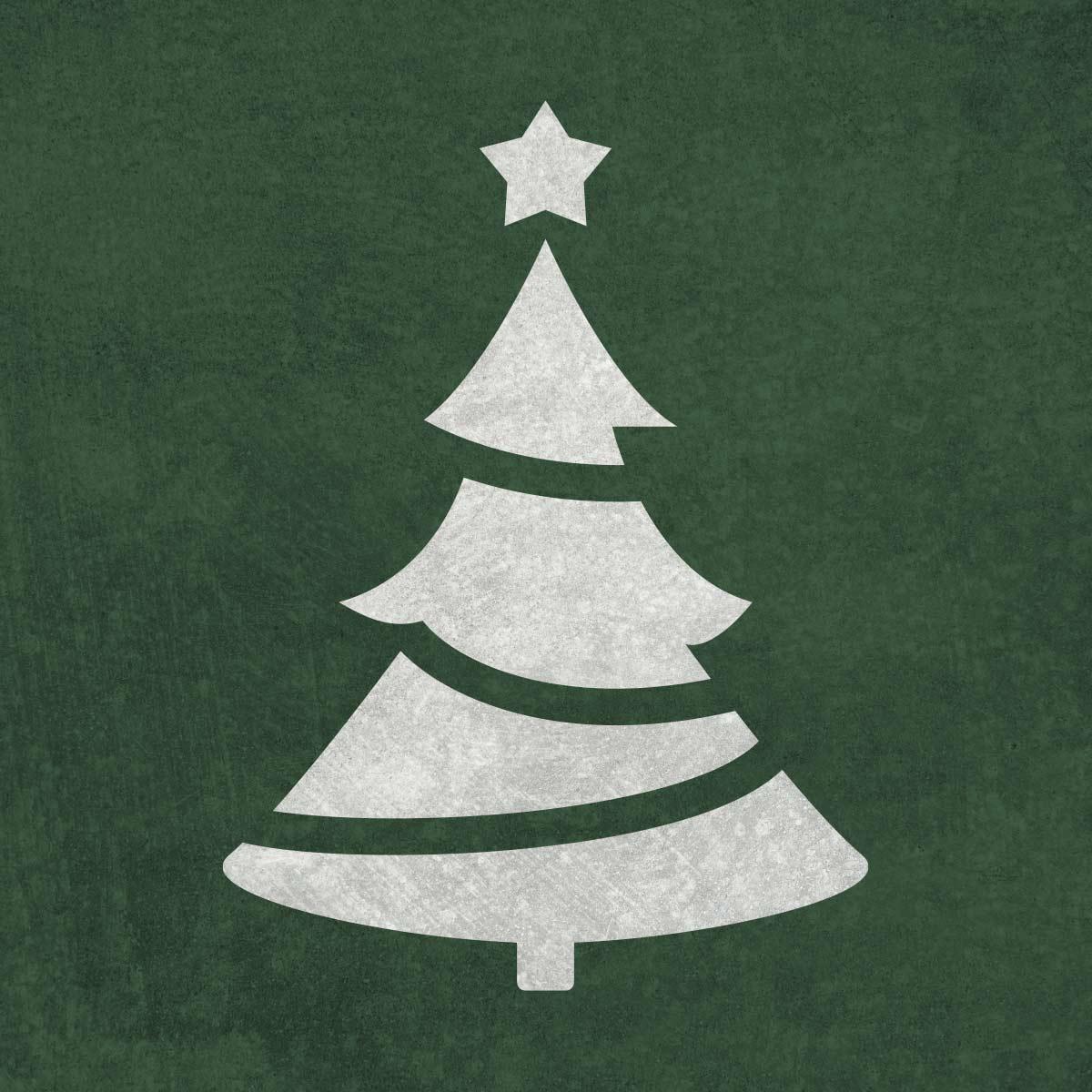 Choinka - świąteczny szablon malarskie wielokrotnego użytku, wizualizacja na ciemnym tle