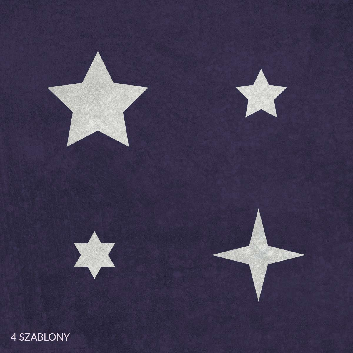 Gwiazdki - świąteczny szablon malarskie wielokrotnego użytku, wizualizacja na ciemnym tle