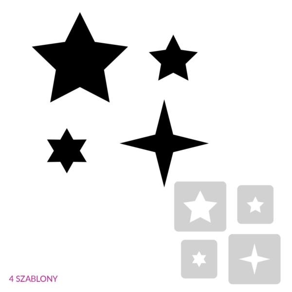 Gwiazdki - świąteczny szablon malarskie wielokrotnego użytku, wizualizacja czarno-biała