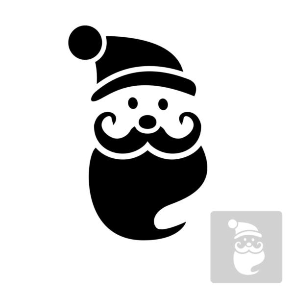 Św. Mikołaj- świąteczny szablon malarskie wielokrotnego użytku, wizualizacja czarno-biała