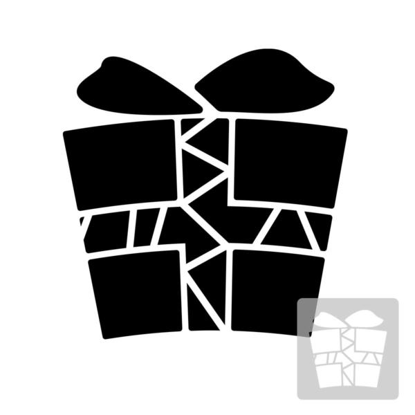 Prezent - świąteczny szablon malarskie wielokrotnego użytku, wizualizacja czarno-biała