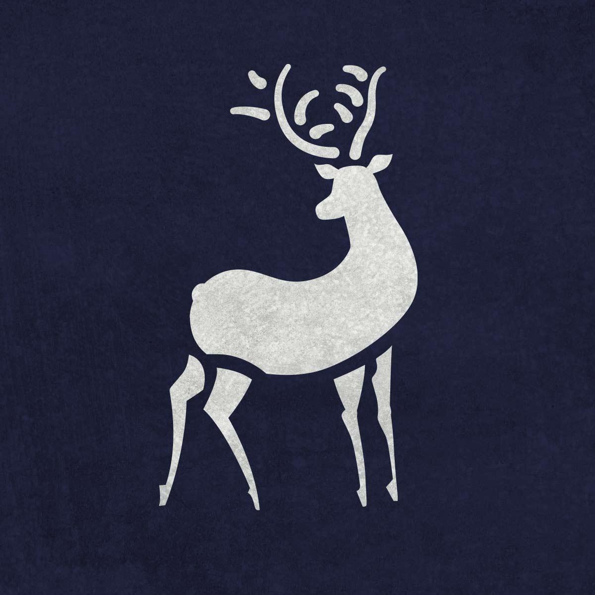 Renifer - świąteczny szablon malarskie wielokrotnego użytku, wizualizacja na ciemnym tle