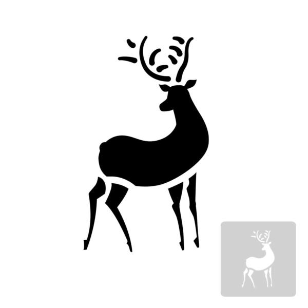 Renifer - świąteczny szablon malarskie wielokrotnego użytku, wizualizacja czarno-biała