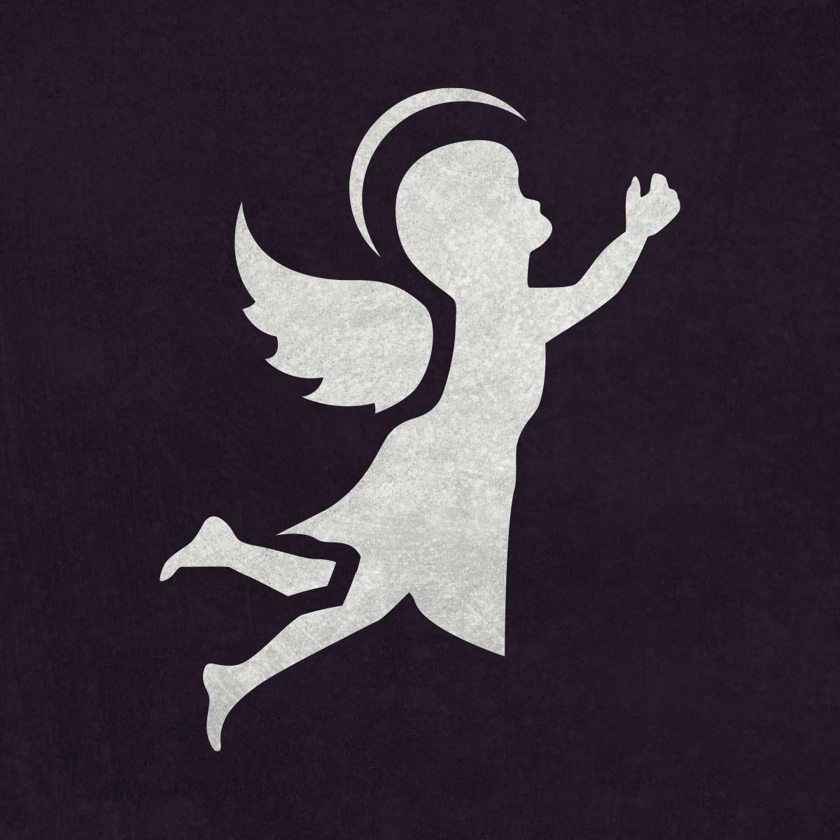 Aniołek - świąteczny szablon malarskie wielokrotnego użytku, wizualizacja na ciemnym tle