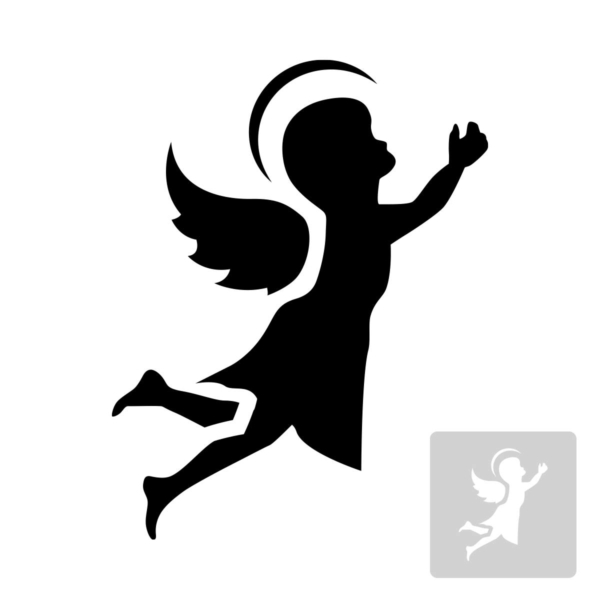 Aniołek - świąteczny szablon malarskie wielokrotnego użytku, wizualizacja czarno-biała