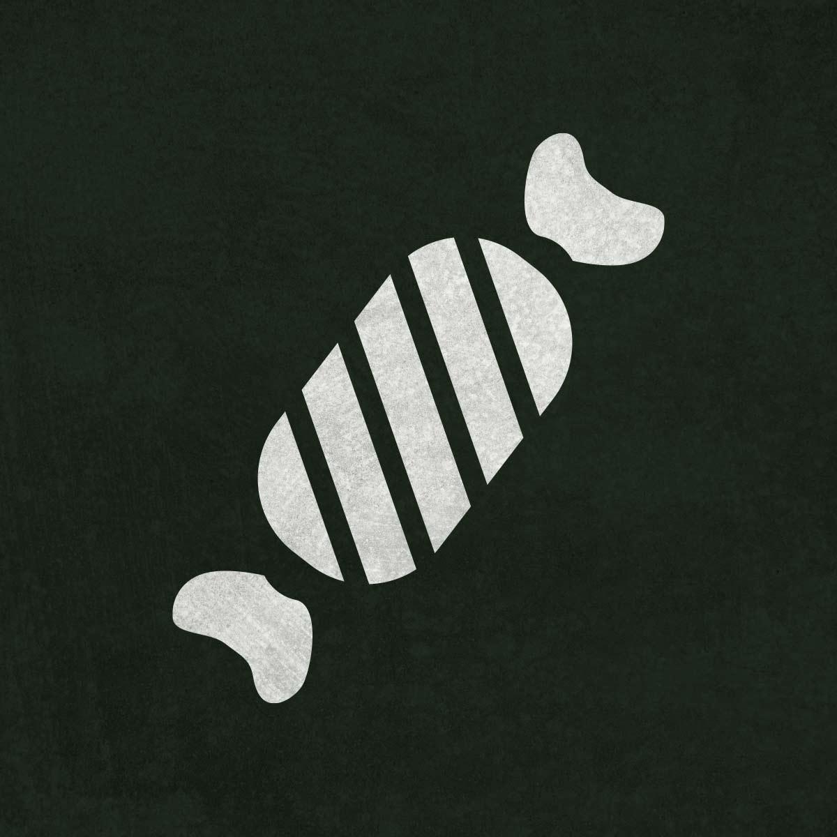 Cukierek - świąteczny szablon malarskie wielokrotnego użytku, wizualizacja na ciemnym tle