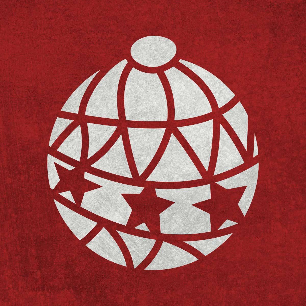 Bombka - świąteczny szablon malarskie wielokrotnego użytku, wizualizacja na ciemnym tle