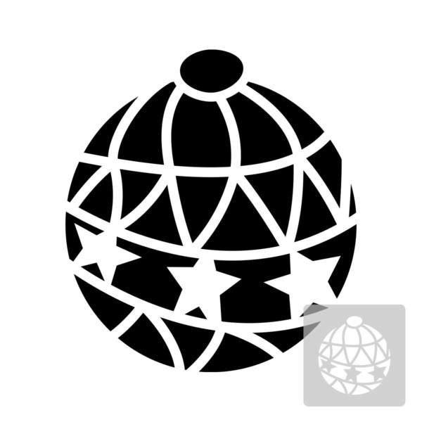 Bombka - świąteczny szablon malarskie wielokrotnego użytku, wizualizacja czarno-biała