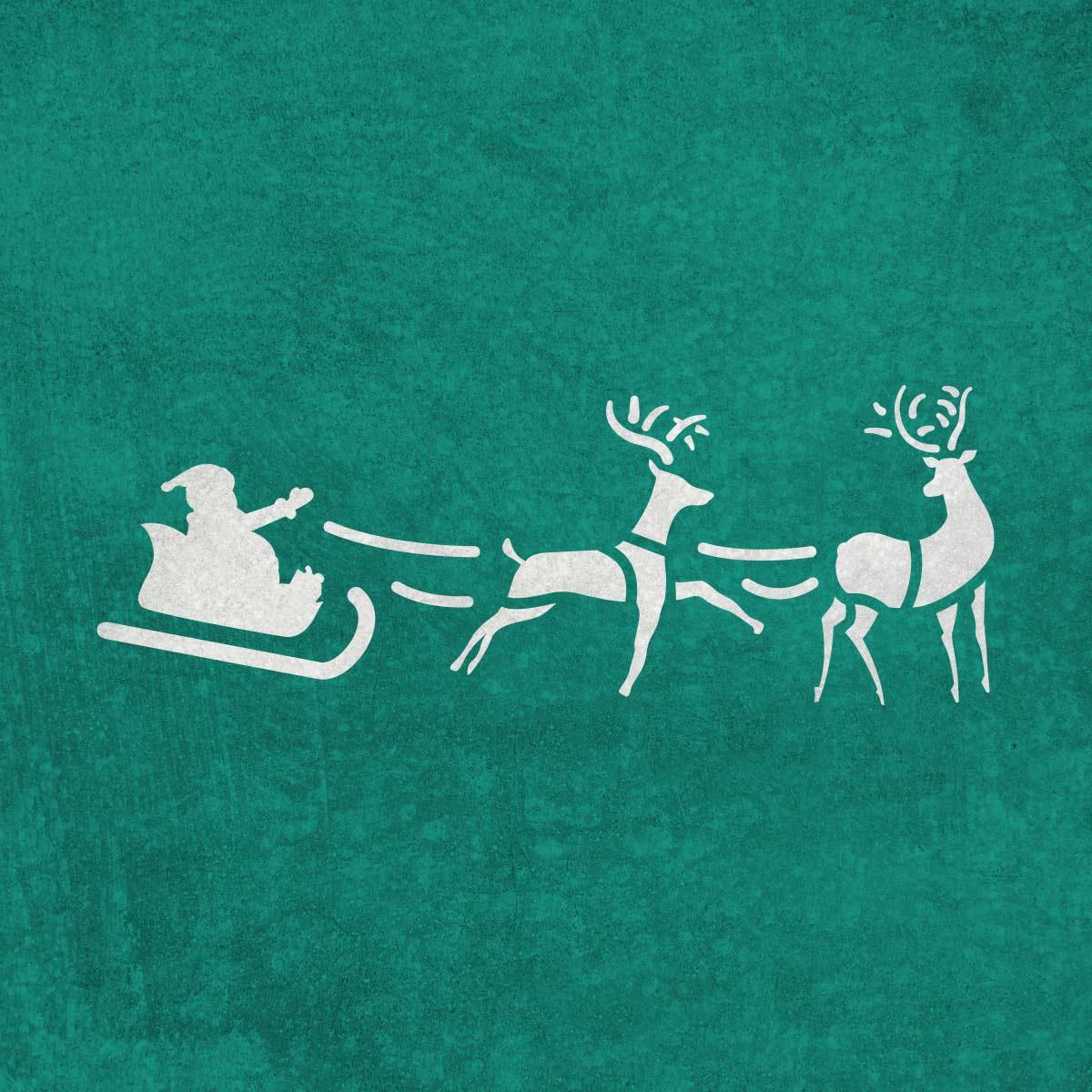 Św. Mikołaj w saniach z reniferami - świąteczny szablon malarskie wielokrotnego użytku, wizualizacja na ciemnym tle