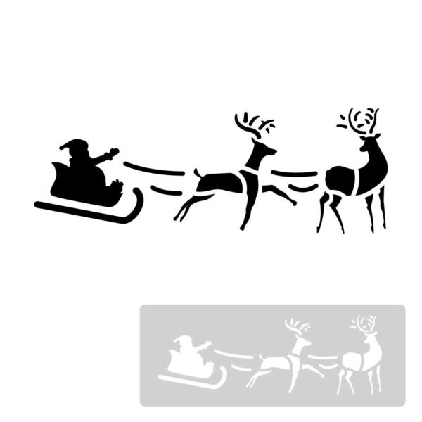 Św. Mikołaj w saniach z reniferami - świąteczny szablon malarskie wielokrotnego użytku, wizualizacja czarno-biała