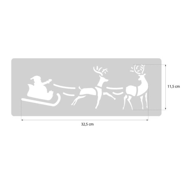 Św. Mikołaj w saniach z reniferami - świąteczny szablon malarskie wielokrotnego użytku - rozmiary