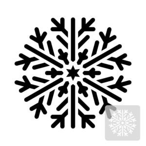 Płatek śniegu - świąteczny szablon malarskie wielokrotnego użytku, wizualizacja czarno-biała