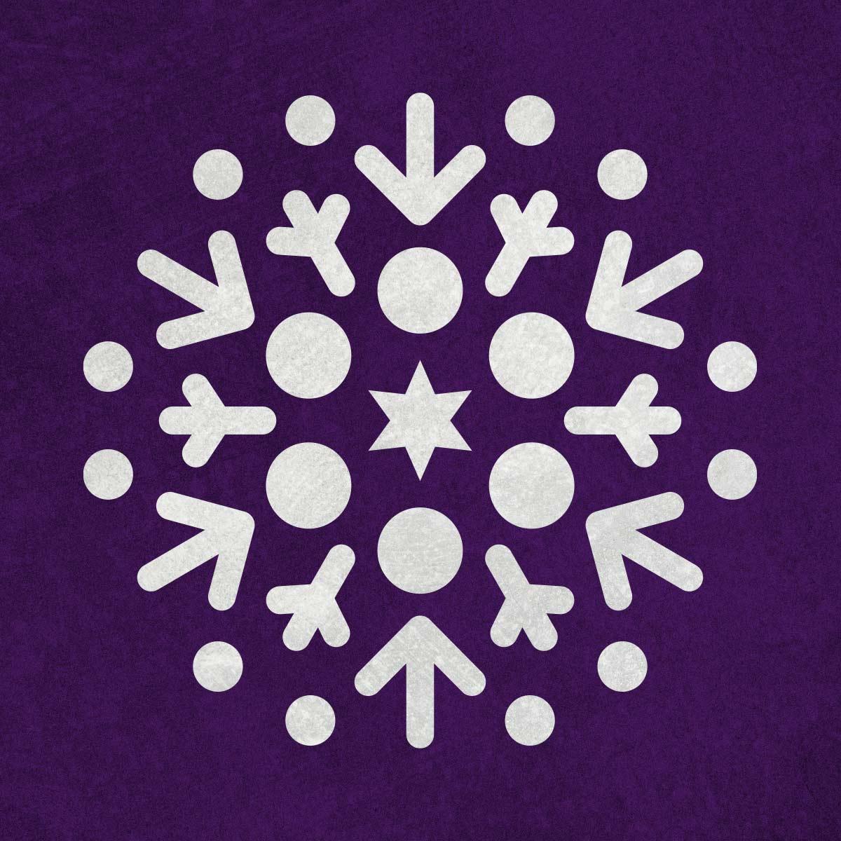 Płatek śniegu, śnieżynka - świąteczny szablon malarskie wielokrotnego użytku, wizualizacja na ciemnym tle