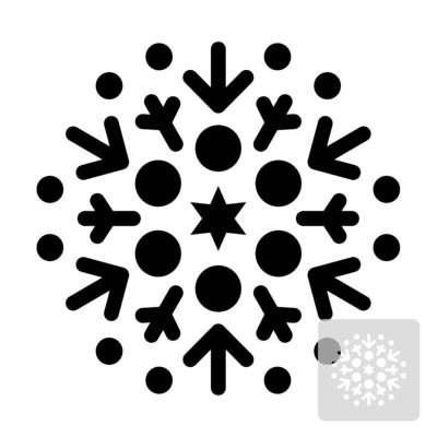 Płatek śniegu, śnieżynka - świąteczny szablon malarskie wielokrotnego użytku, wizualizacja czarno-biała