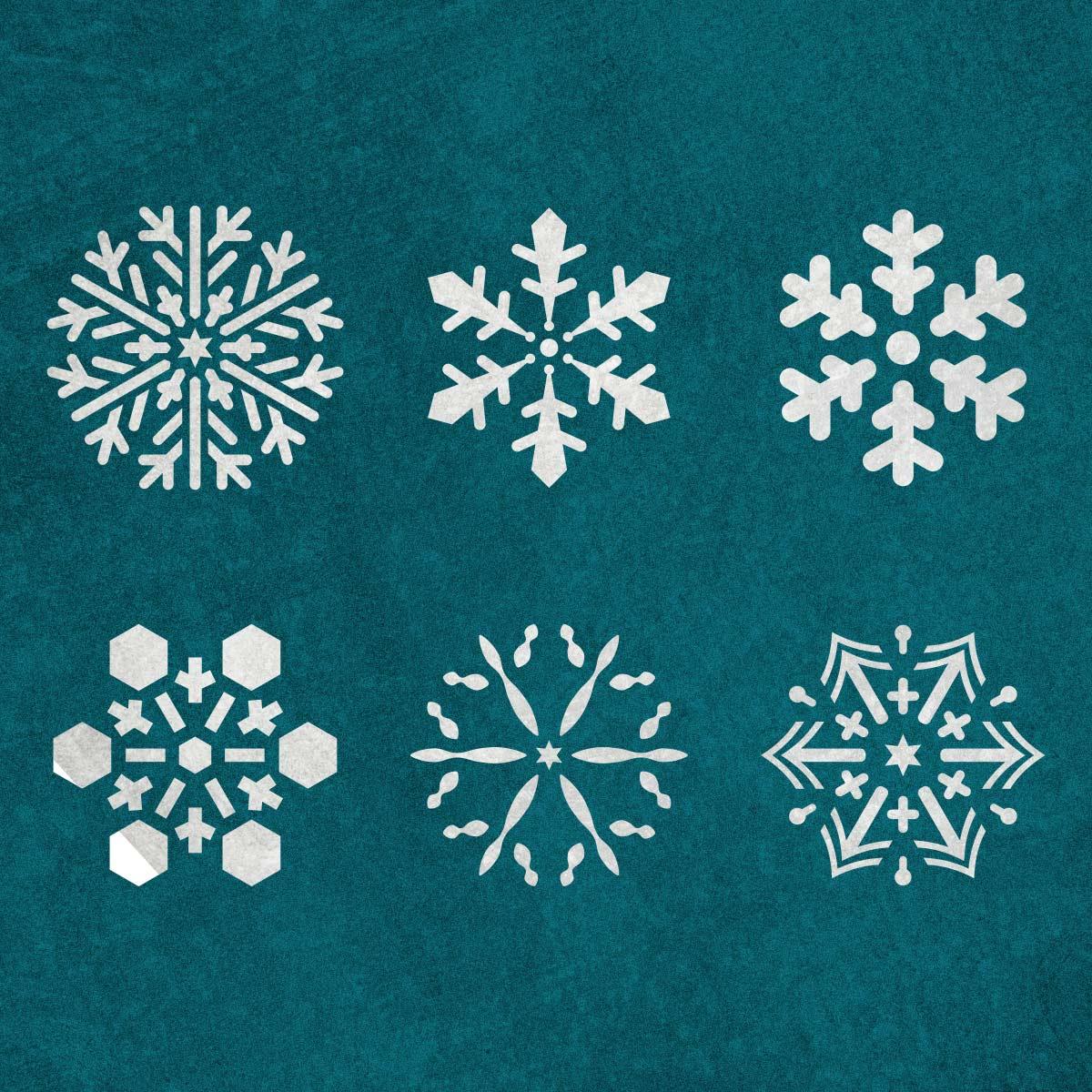 Płatek śniegu, śnieżynka, zestaw 6 sztuk - świąteczny szablon malarskie wielokrotnego użytku, wizualizacja na ciemnym tle