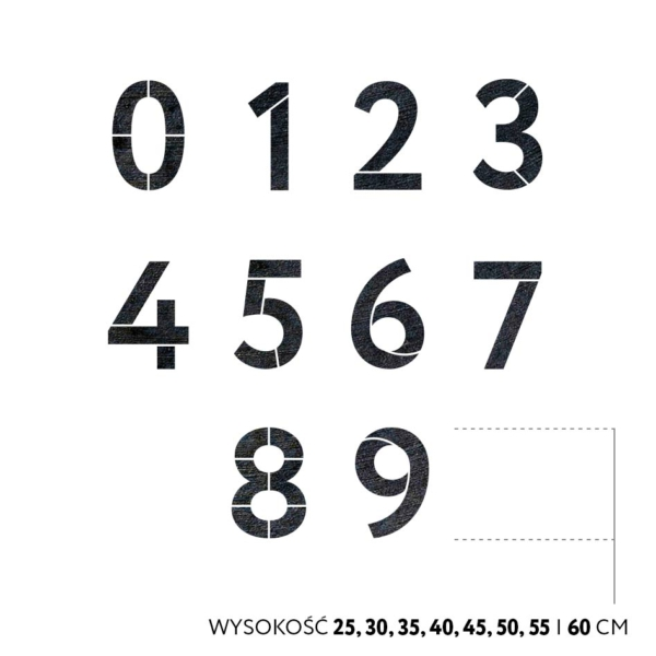 szablony malarskie cyfry - zestaw od 0 do 9