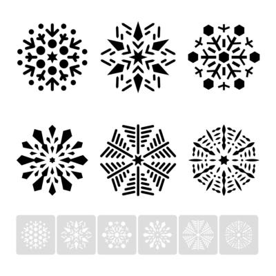 Płatek śniegu, śnieżynka, zestaw 6 sztuk - świąteczny szablon malarskie wielokrotnego użytku, wizualizacja czarno-biała