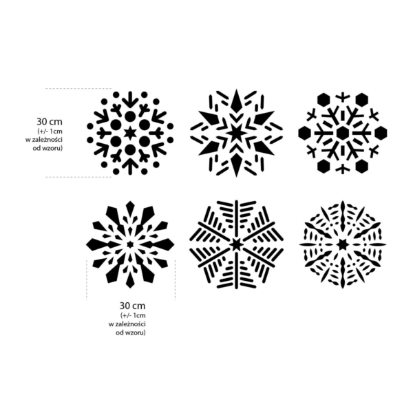 Płatek śniegu, śnieżynka, zestaw 6 sztuk - świąteczny szablon malarskie wielokrotnego użytku - rozmiary